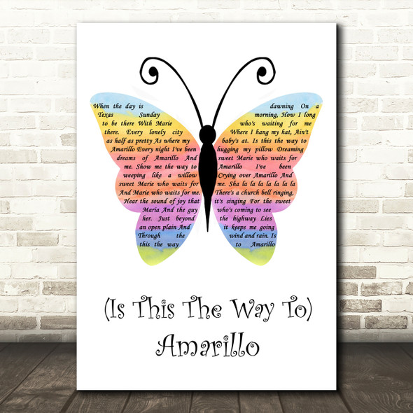 Neil Sedaka (Is This The Way To) Amarillo Rainbow Butterfly Song Lyric Quote Music Print