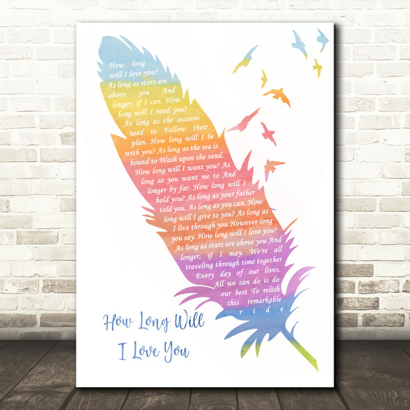 Ellie Goulding How Long Will I Love You Watercolour Feather & Birds Song Lyric Quote Music Print