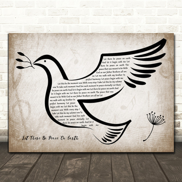 Vince Gill Let There Be Peace On Earth Vintage Dove Bird Song Lyric Quote Music Print