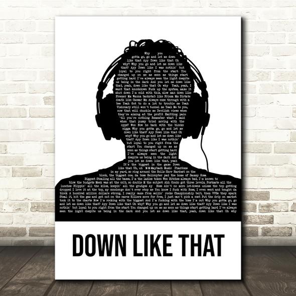 KSI Down Like That Black & White Man Headphones Song Lyric Quote Music Print