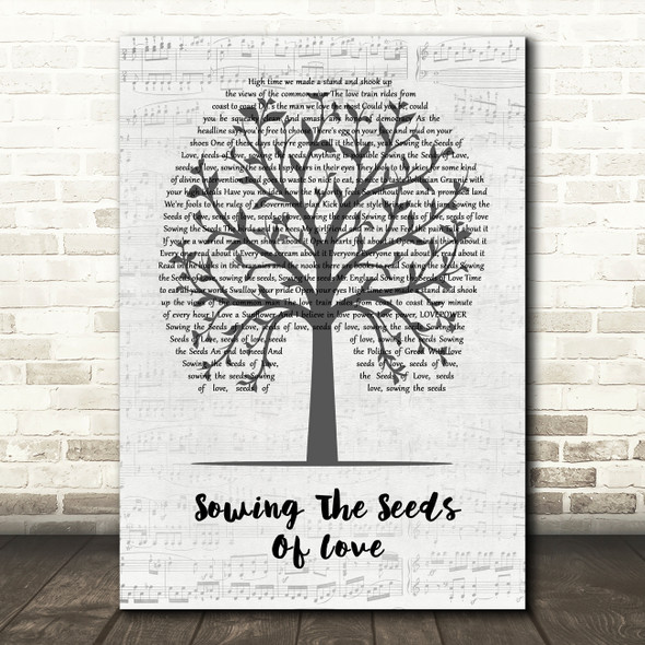 Tears For Fears Sowing The Seeds Of Love Music Script Tree Song Lyric Quote Music Print