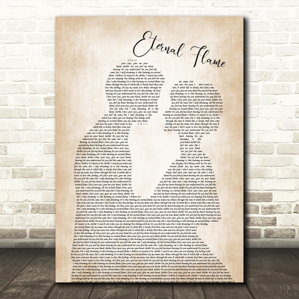 The Bangles Eternal Flame Man Lady Bride Groom Wedding Song Lyric Quote Music Print
