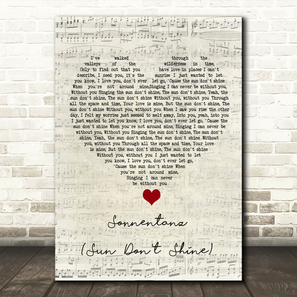 Klangkarussell Sonnentanz (Sun Don't Shine) Script Heart Song Lyric Quote Music Print