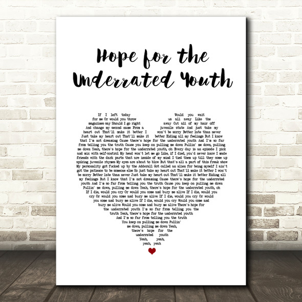 Yungblud Hope for the Underrated Youth White Heart Song Lyric Quote Music Print