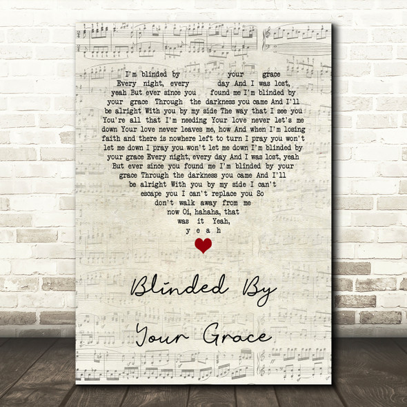 Stormzy Blinded By Your Grace, Pt. 1 Script Heart Song Lyric Quote Music Print