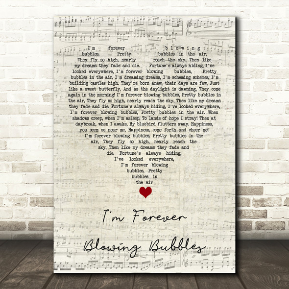 Cockney Rejects I'm Forever Blowing Bubbles Script Heart Song Lyric Quote Music Print