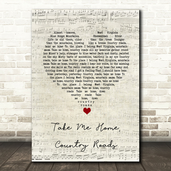 John Denver Take Me Home, Country Roads Script Heart Song Lyric Quote Music Print