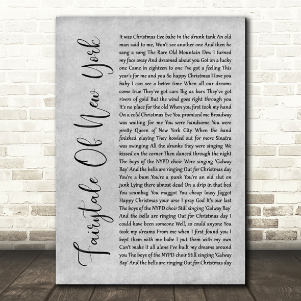 The Pogues Fairytale Of New York Grey Rustic Script Song Lyric Quote Music Print