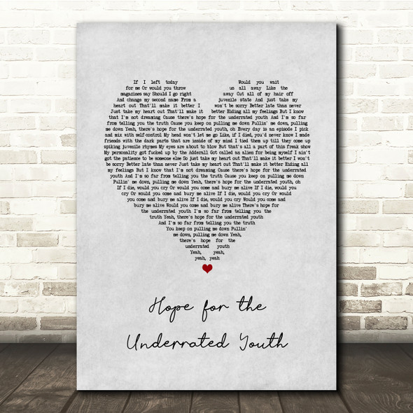 Yungblud Hope for the Underrated Youth Grey Heart Song Lyric Quote Music Print