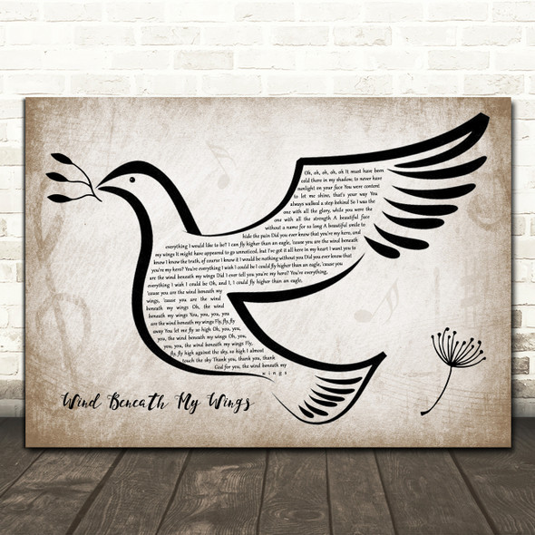 Bette Midler Wind Beneath My Wings Vintage Dove Bird Song Lyric Quote Music Print