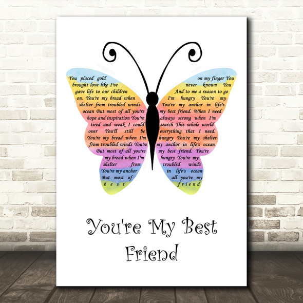 Don Williams You're My Best Friend Rainbow Butterfly Song Lyric Quote Music Print