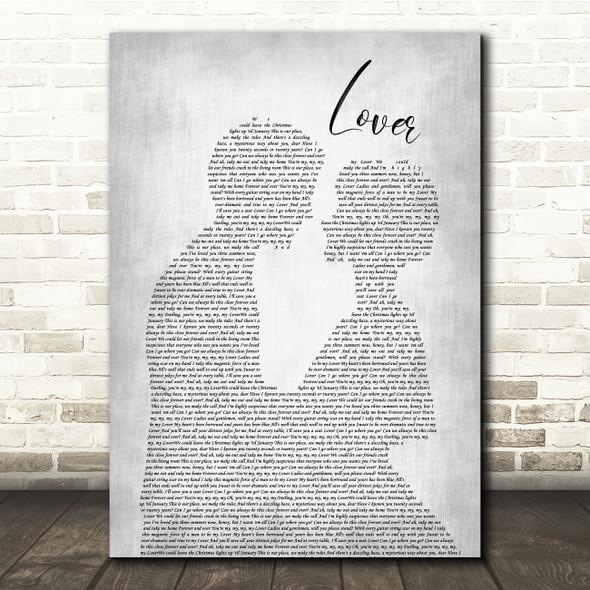 Taylor Swift Lover Man Lady Bride Groom Wedding Grey Song Lyric Quote Music Print