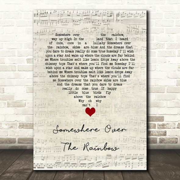 Eva Cassidy Somewhere over the rainbow Script Heart Song Lyric Quote Music Print