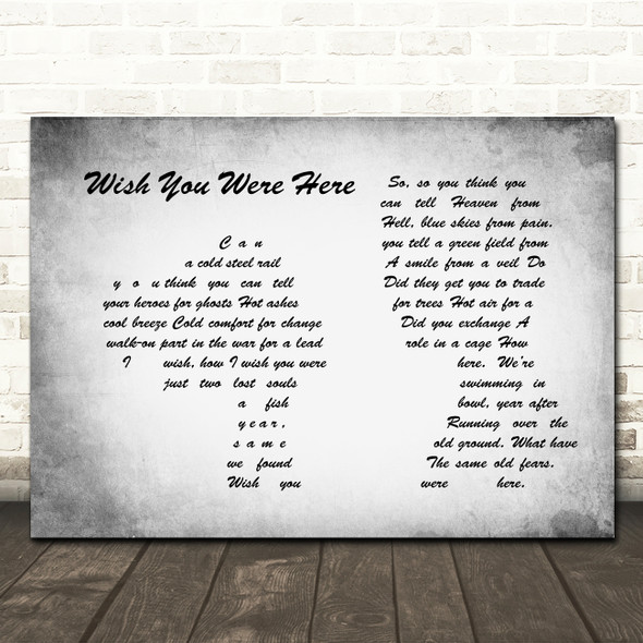 Pink Floyd Wish You Were Here Man Lady Couple Grey Song Lyric Quote Music Print