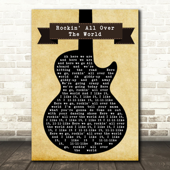 Status Quo Rockin' All Over The World Black Guitar Song Lyric Quote Music Print