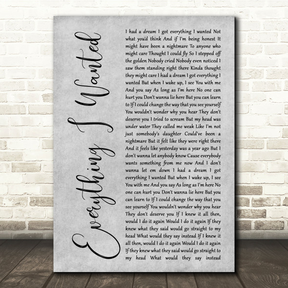 Billie Eilish Everything I Wanted Grey Rustic Script Song Lyric Quote Music Print
