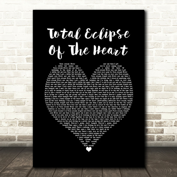Bonnie Tyler Total Eclipse Of The Heart Black Heart Song Lyric Quote Music Print