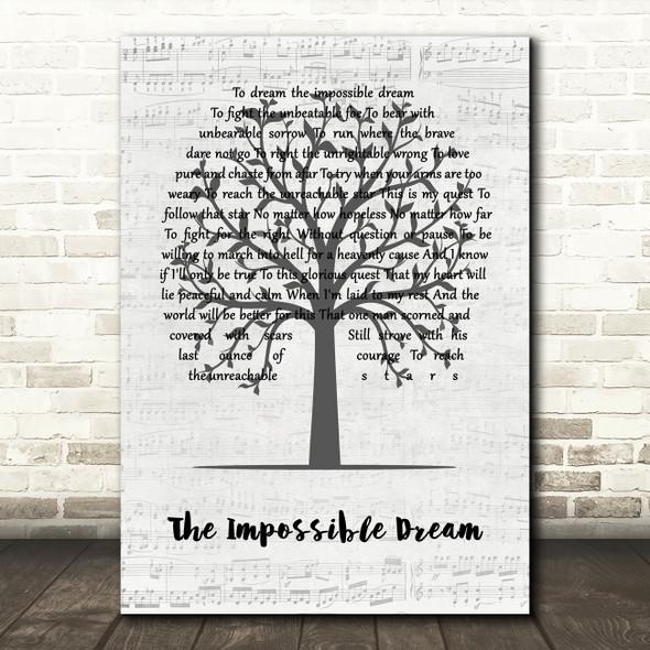 Matt Monro The Impossible Dream Music Script Tree Song Lyric Quote Music Print