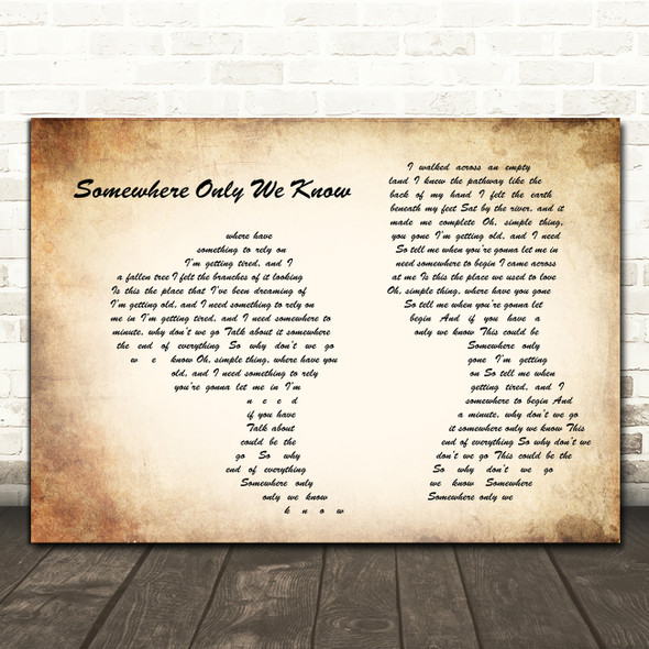 Keane Somewhere Only We Know Man Lady Couple Song Lyric Quote Music Print