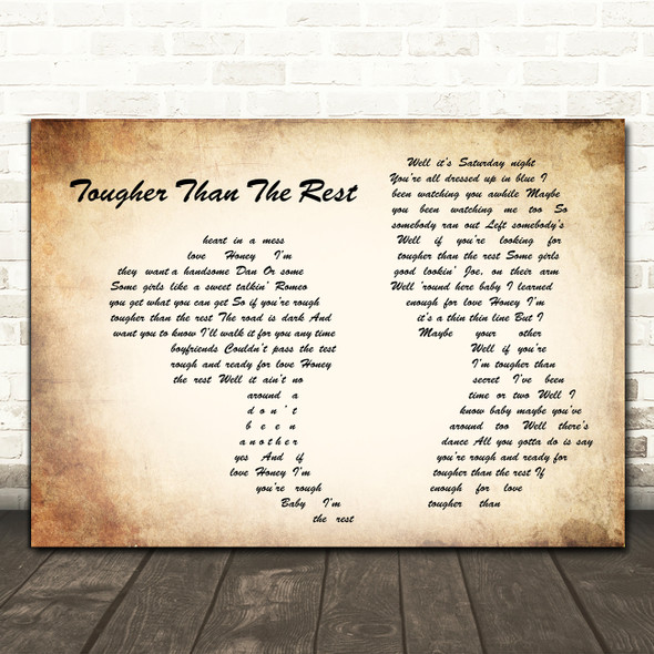 Bruce Springsteen Tougher Than The Rest Man Lady Couple Song Lyric Quote Music Print