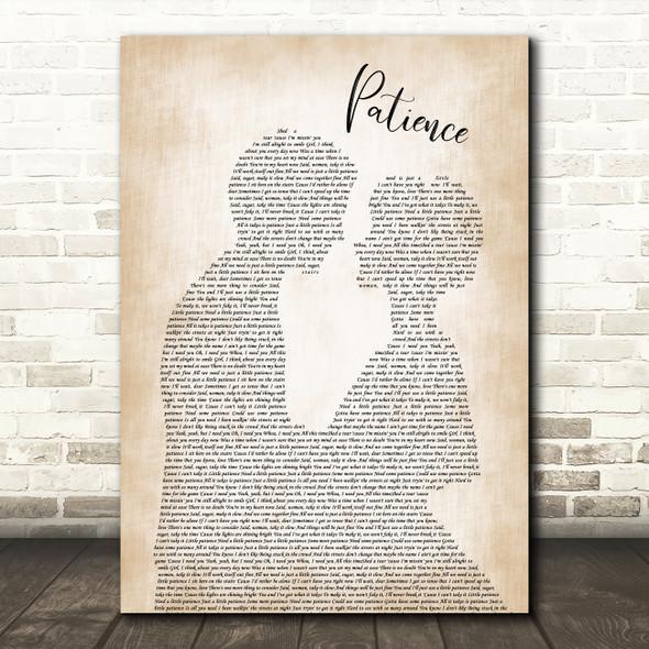 Guns N' Roses Patience Man Lady Bride Groom Wedding Song Lyric Quote Music Print