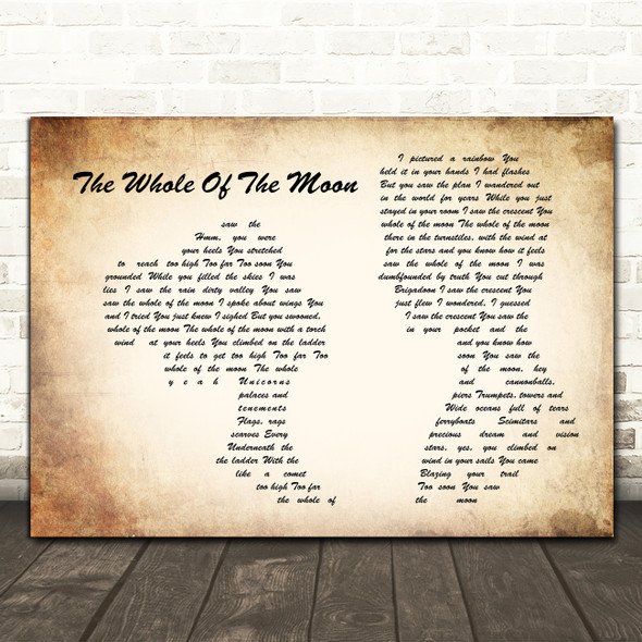 The Waterboys The Whole Of The Moon Man Lady Couple Song Lyric Quote Music Print