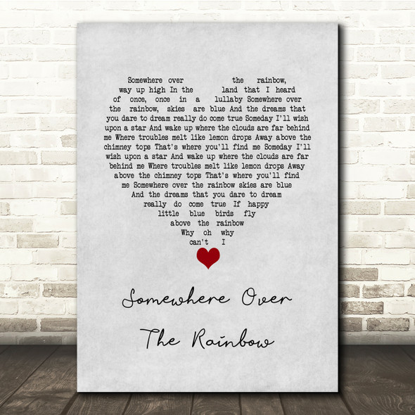 Eva Cassidy Somewhere over the rainbow Grey Heart Song Lyric Quote Music Print