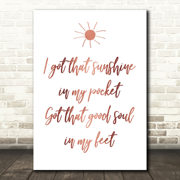 Rose Gold Can't Stop The Feeling Justin Timberlake Song Lyric Quote Print