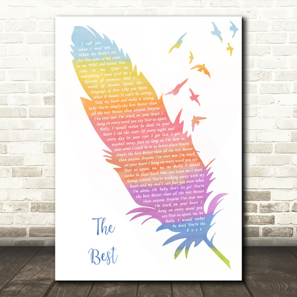Tina Turner The Best Watercolour Feather & Birds Song Lyric Quote Music Print