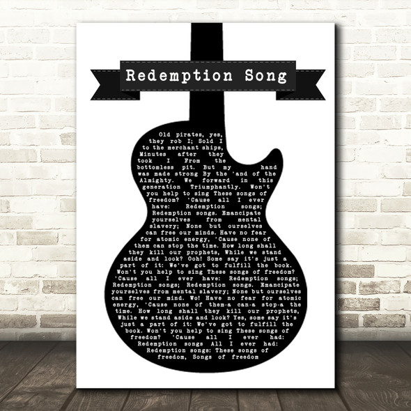 Bob Marley Redemption Song Black & White Guitar Song Lyric Quote Music Print
