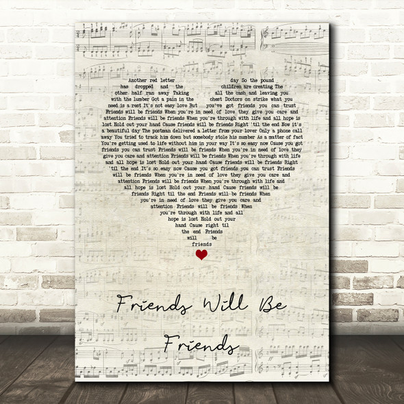 Queen Friends Will Be Friends Script Heart Song Lyric Quote Music Print