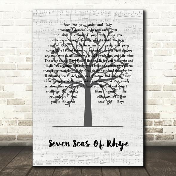 Queen Seven Seas Of Rhye Music Script Tree Song Lyric Quote Music Print