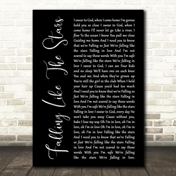 James Arthur Falling Like The Stars Black Script Song Lyric Quote Music Print