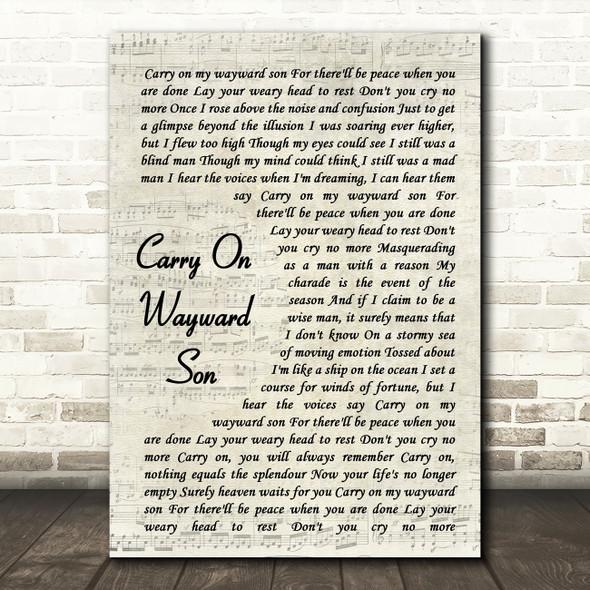 Kansas Carry On Wayward Son Vintage Script Song Lyric Quote Music Print