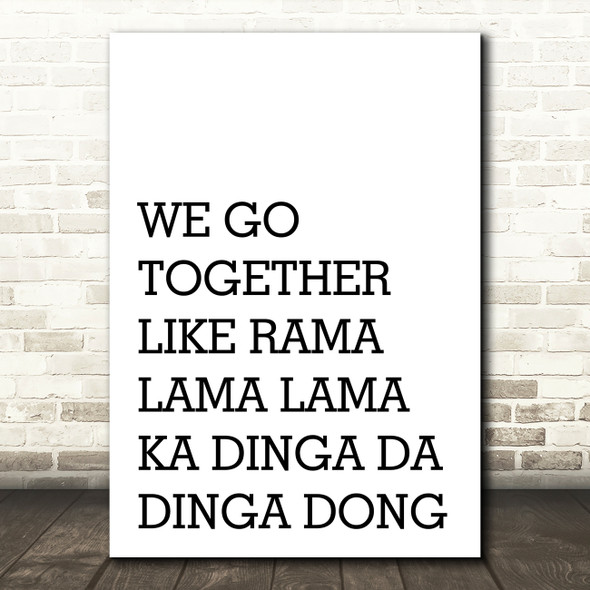 Grease We Go Together Song Lyric Quote Print