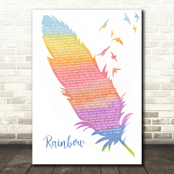 Kesha Rainbow Watercolour Feather & Birds Song Lyric Quote Music Print