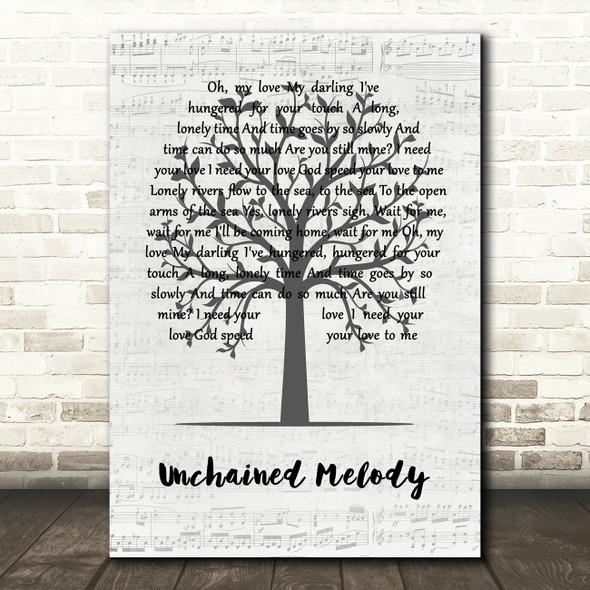 The Righteous Brothers Unchained Melody Music Script Tree Song Lyric Quote Music Print