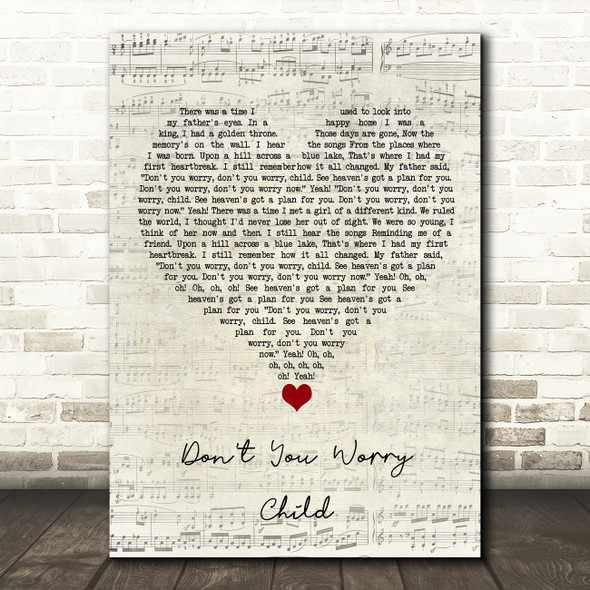 Swedish House Mafia Don't You Worry Child Script Heart Song Lyric Quote Music Print