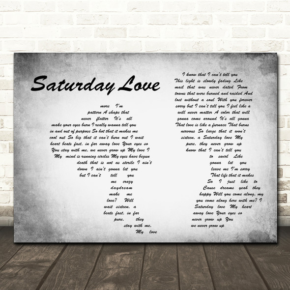 Angels & Airwaves Saturday Love Man Lady Couple Grey Song Lyric Quote Music Print