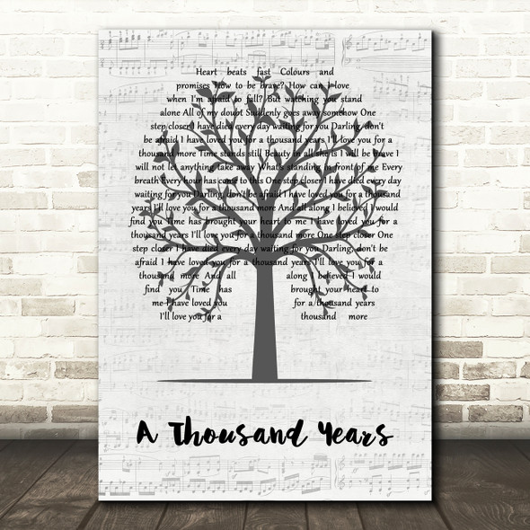 Christina Perri A Thousand Years Music Script Tree Song Lyric Quote Music Print