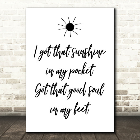Can't Stop The Feeling Justin Timberlake Song Lyric Quote Print