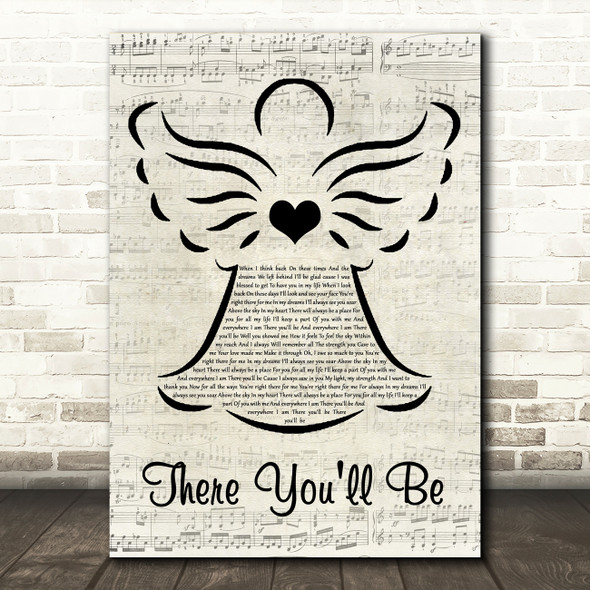 Faith Hill There You'll Be Music Script Angel Song Lyric Quote Music Print