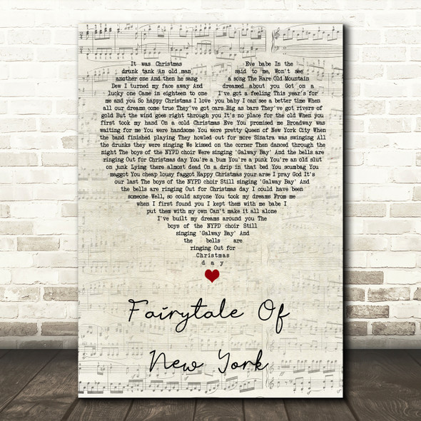 The Pogues Fairytale Of New York Script Heart Song Lyric Quote Music Print