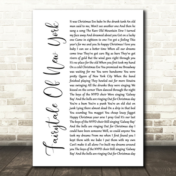 The Pogues Fairytale Of New York White Script Song Lyric Quote Music Print