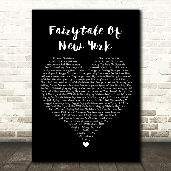 The Pogues Fairytale Of New York Black Heart Song Lyric Quote Music Print