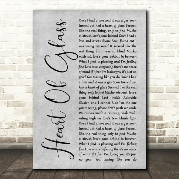 Blondie Heart Of Glass Grey Rustic Script Song Lyric Quote Music Print