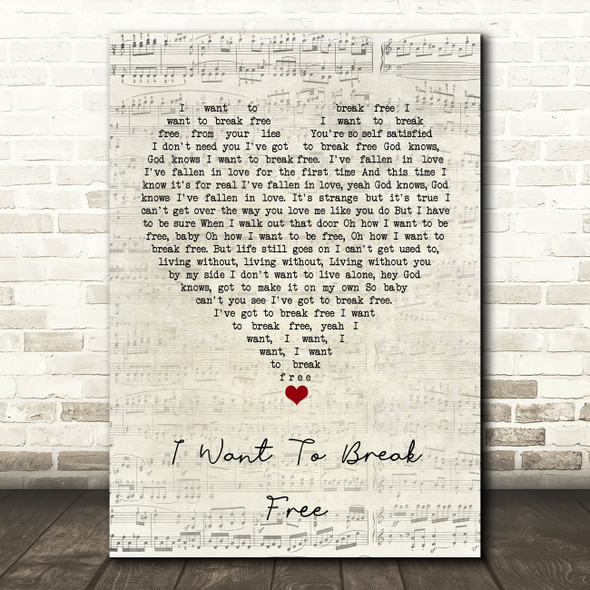 Queen I Want To Break Free Script Heart Song Lyric Quote Music Print