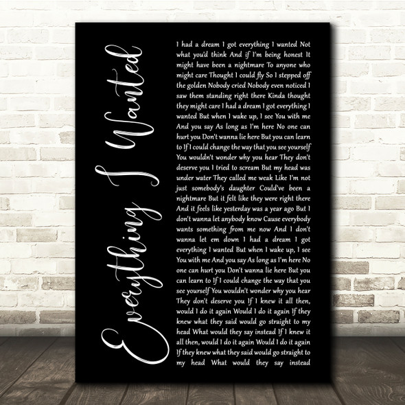 Billie Eilish Everything I Wanted Black Script Song Lyric Quote Music Print