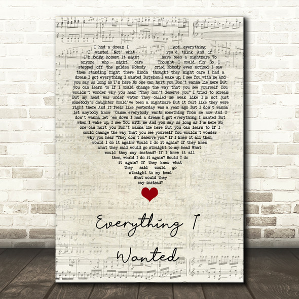 Billie Eilish Everything I Wanted Script Heart Song Lyric Quote Music Print