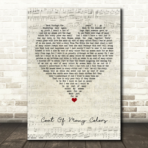 Dolly Parton Coat Of Many Colors Script Heart Song Lyric Quote Music Print